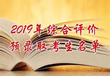 2019年综合评价预录取考生名单